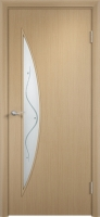 Дверь ламинированная Луна со стеклом (стекло с фьюзингом), беленый дуб