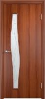 Дверь ламинированная Волна со стеклом (стекло с фьюзингом), итальянский орех (темная)