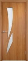 Дверь ламинированная Стрилиция со стеклом (стекло матовое), миланский орех (светлая)