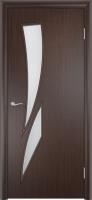 Дверь ламинированная Стрилиция со стеклом (стекло матовое), венге (черная)