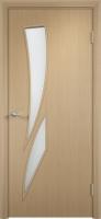 Дверь ламинированная Стрилиция со стеклом (стекло матовое), беленый дуб