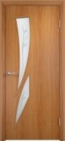 Дверь ламинированная Стрилиция со стеклом (стекло с фьюзингом), миланский орех (светлая)