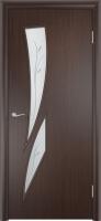 Дверь ламинированная Стрилиция со стеклом (стекло с фьюзингом), венге (черная)