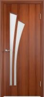 Дверь ламинированная Орхидея со стеклом (стекло матовое), итальянский орех (темная)