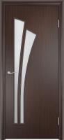 Дверь ламинированная Орхидея со стеклом (стекло матовое), венге (черная)