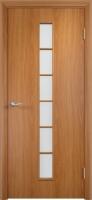 Дверь ламинированная Японка со стеклом (стекло матовое), миланский орех (светлая)