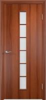 Дверь ламинированная Японка со стеклом (стекло матовое), итальянский орех (темная)