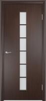 Дверь ламинированная Японка со стеклом (стекло матовое), венге (черная)