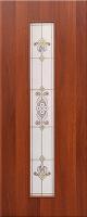 Дверь ламинированная Барокко со стеклом (стекло художественное), итальянский орех (темная)