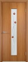 Дверь ламинированная Весна со стеклом (стекло с фьюзингом), миланский орех (светлая)