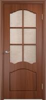 """Дверь пвх  Лилия межкомнатная со стеклом (стекло бронзовое """"Водопад""""), итальянский орех (светлая)"""