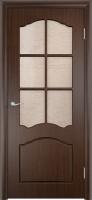 """Дверь пвх  Лилия межкомнатная со стеклом (стекло бронзовое """"Водопад""""), венге (черная)"""