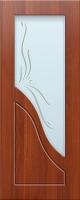 Дверь пвх  Жасмин межкомнатная со стеклом (стекло белое матовое с рисунком), итальянский орех (светлая)