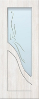 Дверь пвх  Жасмин межкомнатная со стеклом (стекло белое матовое с рисунком), беленый дуб