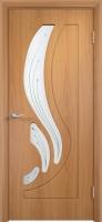 Дверь пвх  Лотос межкомнатная со стеклом (стекло белое матовое с рисунком), миланский орех (светлая)