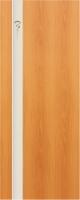 Дверь пвх  Комета межкомнатная глухая с матированной зеркальной вставкой с рисунком , миланский орех (светлая)