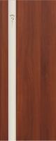Дверь пвх  Комета межкомнатная глухая с матированной зеркальной вставкой с рисунком, итальянский орех (светлая)
