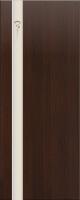 Дверь пвх  Комета межкомнатная глухая с матированной зеркальной вставкой с рисунком, венге (черная)
