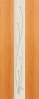 Дверь пвх  Глория межкомнатная глухая с матированной зеркальной вставкой с рисунком, миланский орех (светлая)