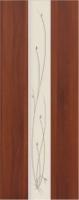 Дверь пвх  Глория межкомнатная глухая с матированной зеркальной вставкой с рисунком, итальянский орех (светлая)