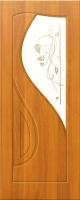 Дверь пвх  Премьера межкомнатная со стеклом (стекло бронзовое матовое с рисунком и со стразами), миланский орех (светлая)