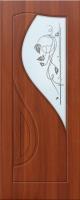 Дверь пвх  Премьера межкомнатная со стеклом (стекло бронзовое матовое с рисунком и со стразами), итальянский орех (светлая)