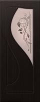 Дверь пвх  Премьера межкомнатная со стеклом (стекло бронзовое матовое с рисунком и со стразами), венге (черная)