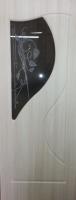 Дверь пвх  Премьера межкомнатная со стеклом (стекло бронзовое матовое с рисунком и со стразами), беленый дуб