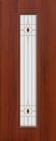 Дверь пвх  Элегия межкомнатная со стеклом (стекло белое матовое с рисунком и фьюзингом (декоротивные накладки), итальянский орех (светлая)