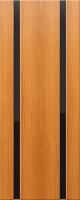 Дверь пвх Веста2 межкомнатная со стеклом триплекс (черное), миланский орех (светлая)