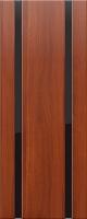 Дверь пвх Веста2 межкомнатная со стеклом триплекс (черное), итальянский орех (светлая)