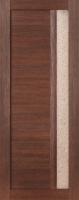 Дверь Экошпон Стиль  2 (S-2) межкомнатная со стеклом (стекло белое матовое с художественным рисунком), орех