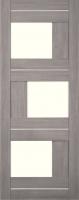 Дверь Экошпон Стиль  3 (S-3) межкомнатная со стеклом (стекло белое матовое) и молдингом, неапль (серый)