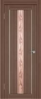 Дверь Экошпон Стиль  7 (S-7) межкомнатная со стеклом (стекло белое матовое с художественным рисунком), орех