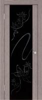 Дверь Экошпон Стиль 11 (S-11) межкомнатная со стеклом (стекло черное триплекс с пескоструйным рисунком и стразами), неапль (серый)