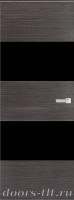 Дверь Экошпон ЭЛИТ Q 3 межкомнатная глухая со стеклом триплекс черное, серый