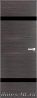 Дверь Экошпон ЭЛИТ Q 4 межкомнатная глухая со стеклом триплекс черное, серый