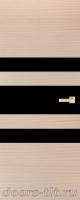 Дверь Экошпон ЭЛИТ Q 6 межкомнатная глухая со стеклом триплекс черное, беленый дуб