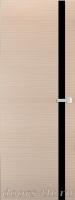 Дверь Экошпон ЭЛИТ Q 7 межкомнатная глухая со стеклом триплекс черное, беленый дуб