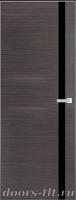 Дверь Экошпон ЭЛИТ Q 7 межкомнатная глухая со стеклом триплекс черное, серый