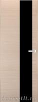 Дверь Экошпон ЭЛИТ Q 8 межкомнатная глухая со стеклом триплекс черное, беленый дуб