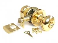 Ручка-шарик  цвет золото с фиксатором для межкомнатной двери