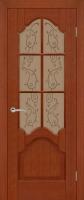 Дверь Рубин шпонированная межкомнатная со стеклом, темный орех