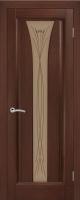 Дверь Хризалит шпонированная межкомнатная со стеклом, каштан