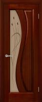 Дверь Малахит шпонированная межкомнатная со стеклом, сапель