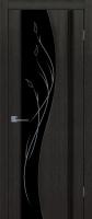 Дверь Родолит шпонированная межкомнатная со стеклом, черный абрикос
