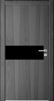 Дверь Модель 037 шпонированная межкомнатная со стеклом, графит