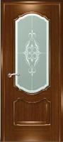 Дверь Маркиза шпонированная межкомнатная со стеклом 2, орех