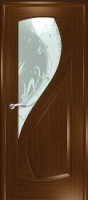 Дверь Новый Стиль шпонированная межкомнатная со стеклом 3, орех