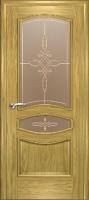 Дверь Наполеон-Элит шпонированная межкомнатная со стеклом 2, золотой дуб